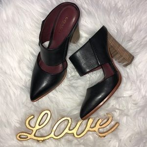 HP🥳 Coach Fortune Black vegan leather heel mule 6